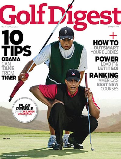 Tiger Woods Shares January Cover of Golf Digest With Barack Obama