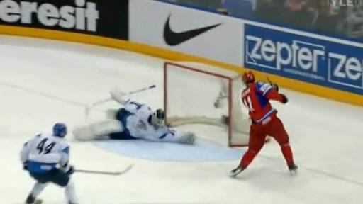Evgeni Malkin Robbed by Finnish Goaltender Petri Vehanen at IIHF World Championships