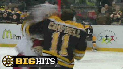 Gregory Campbell Fight Headlines First Day of Bruins Big Hits