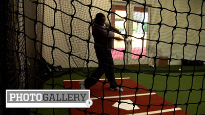 Bill Hall Trains During the Offseason in His Indoor Batting Cage