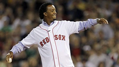Pedro Martinez Throws Out First Pitch at Red Sox' Season Opener