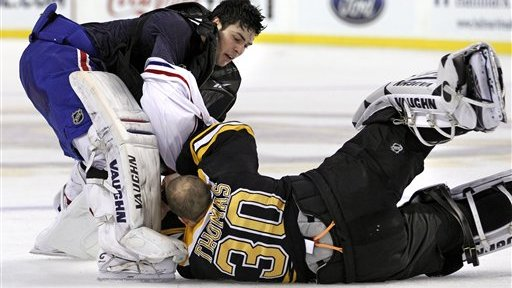 Tim Thomas' First Fight a Hit With Resident Brawler Shawn Thornton, Even If It 'Didn't Go as Planned'