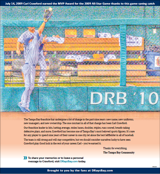 Carl Crawford Thanked by Rays Fans in Full-Page Newspaper Ad