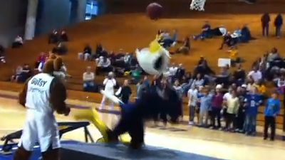 Swoop, Mascot of Emory University, Fails Miserably at Trampoline Dunk Attempt