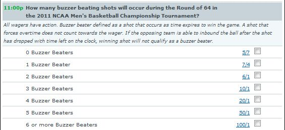 How Many Buzzer-Beating Shots Will Occur During the Round of 64 in the 2011 NCAA Men's Basketball Tournament?