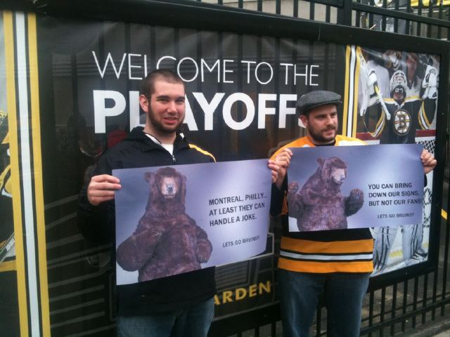 Bruins Fans Hold Homemade 'Bear' Marketing Signs Outside TD Garden to Replace Ones That Were Removed