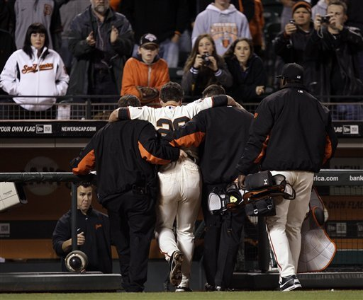 Buster Posey Injured After Violent Collision at Home Plate With Florida's Scott Cousins (Photos)