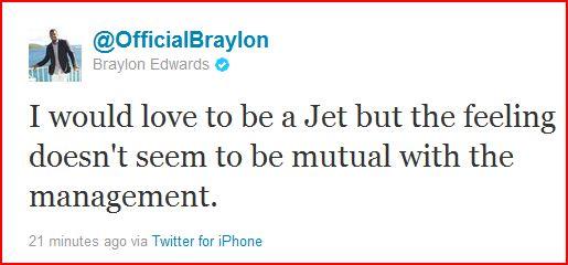 Braylon Edwards Thinks Jets Management Doesn't Want Him Back, According to Tweet