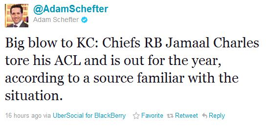 Report: Jamaal Charles Out for Season With Torn ACL