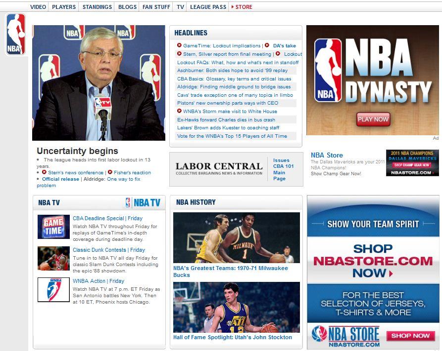 NBA.com Gets New Lockout Makeover, Bumps Up WNBA Coverage