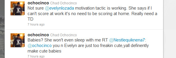 Chad Ochocinco Admits His Fiancée, Evelyn Lozada, Won't Sleep With Him Unless He Scores Touchdown