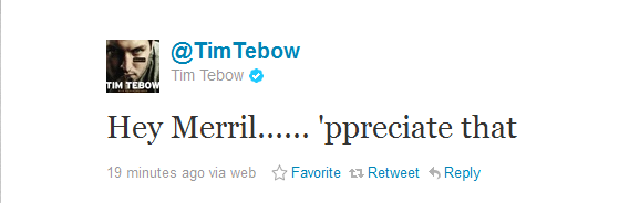 Tim Tebow Uses Twitter to Respond to Merril Hoge's Criticism