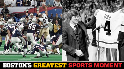 Is Patriots' Final Drive to Win Super Bowl XXXVI or Bobby Orr's No. 4 Retirement a Bigger Boston Sports Moment?