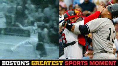 Is John Havlicek Stealing the Ball or Jason Varitek and Alex Rodriguez's Brawl a Bigger Boston Sports Moment?