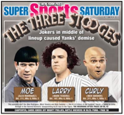 Alex Rodriguez, Mark Teixeira and Nick Swisher Appear as Three Stooges on New York Post Back Page