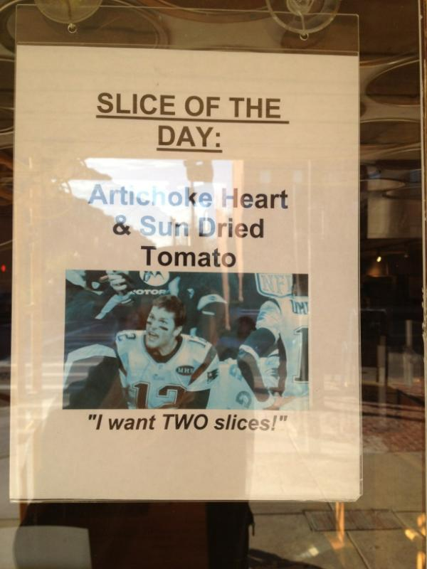Upper Crust Pizzeria Makes Light of Tom Brady-Bill O'Brien Argument With Slice of the Day Ad (Photo)