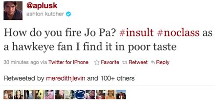 Ashton Kutcher Criticizes Joe Paterno's Firing on Twitter, Then Deletes Tweet (Photo)