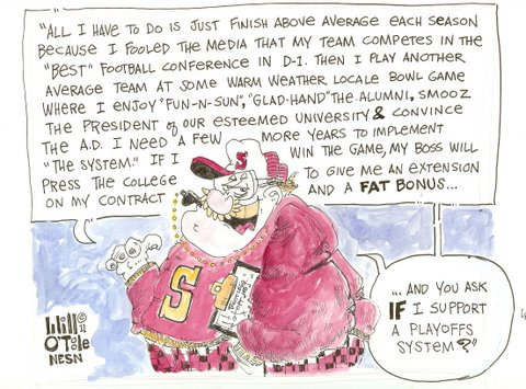 BCS System Allows College Coaches to Get Fat and Happy Without Worrying About Playoffs