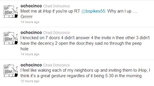 Chad Ochocinco Invites Neighbors to IHOP at 5:30 a.m., But Gets Brushed Aside
