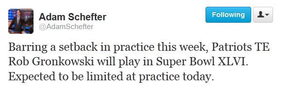 Report: Rob Gronkowski 'Will Play' in Super Bowl XLVI