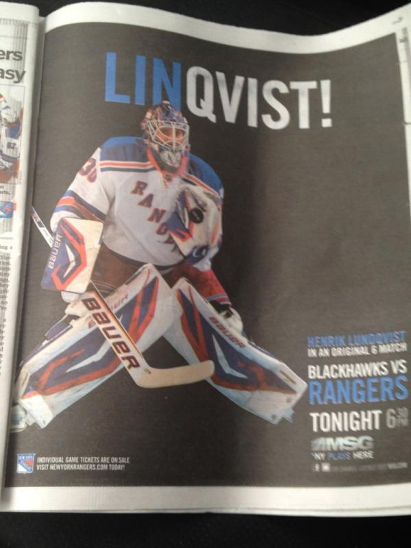 MSG's New York Rangers 'Linqvist!' Ad Taps Into Jeremy Lin's 'Linsanity' With Henrik Lundqvist (Photo)