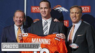 Peyton Manning Shows Off New Orange Broncos Jersey Alongside John Elway, Co. at News Conference (Photos)