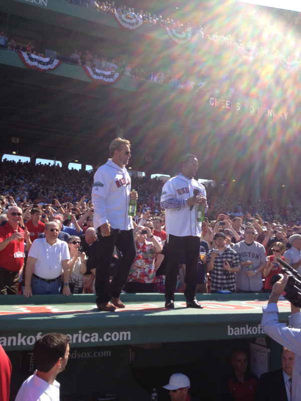 Pedro Martinez, Kevin Millar Lead Fenway Park Toast Atop Red Sox Dugout (Photo)