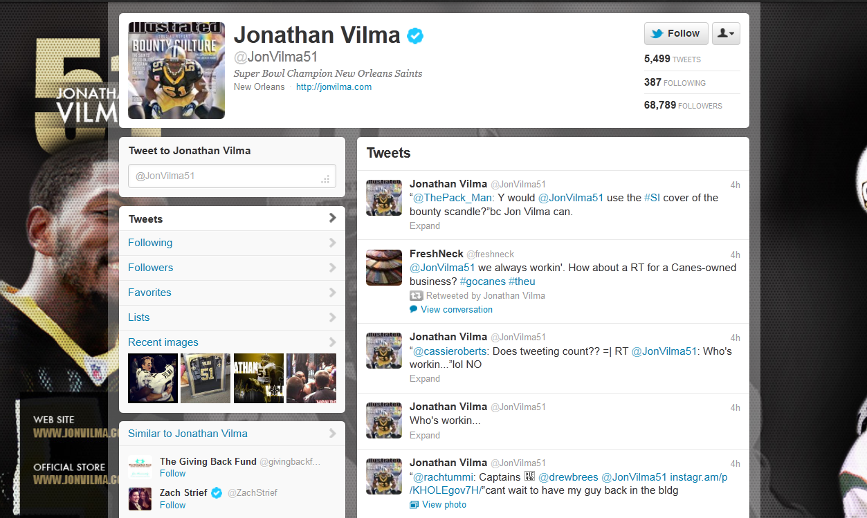 Jonathan Vilma Embracing His Bountygate Role on Twitter '[Because] Jon Vilma Can' (Photos)