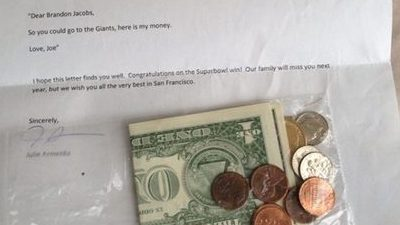 Six-Year-Old New York Giants Fan Sends Brandon Jacobs $3.36 to Stay With Team