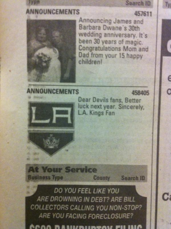 L.A. Kings Fan Buys Classified Ad in New Jersey Paper Taunting Devils Fans for Stanley Cup Loss (Photo)
