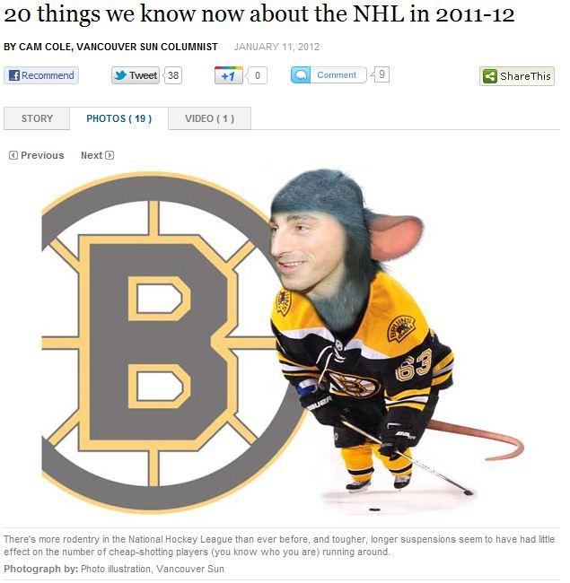 Vancouver Sun Puts Brad Marchand's Face on a Rat in Amateur Photoshop Job