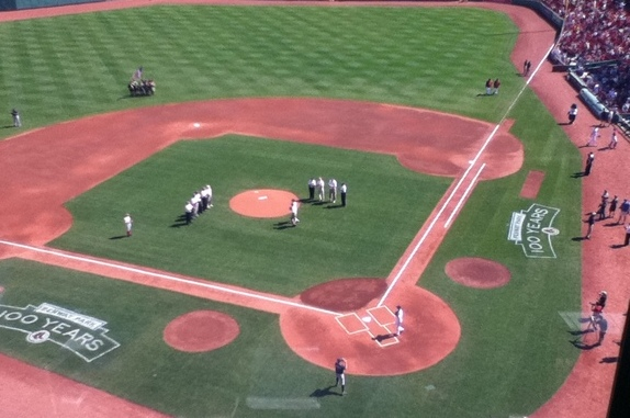Gino Cappelletti Throws Out First Pitch As Red Sox Honor Boston Patriots Before Game at Fenway (Photo)