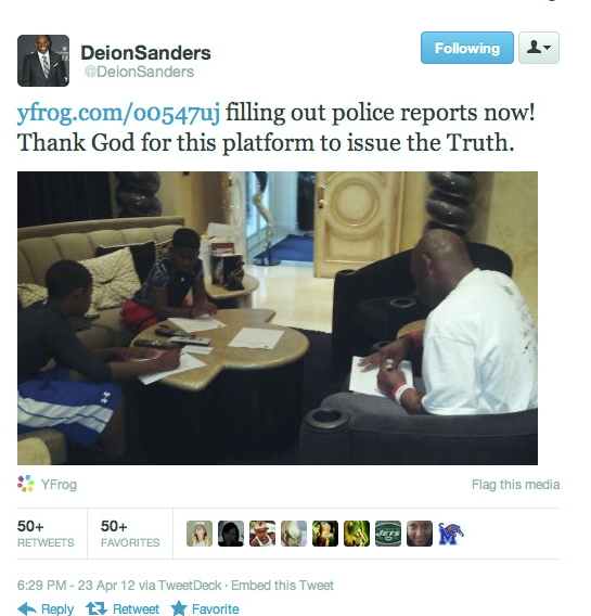 Deion Sanders Live Tweets Fight With Wife Who Gets Arrested for Allegedly Assaulting Former NFL Star (Photo)
