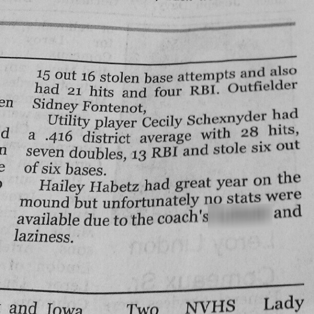 Sports Writer Calls Out Softball Coach for His 'Bull---- and Laziness' in Newspaper (Photo)
