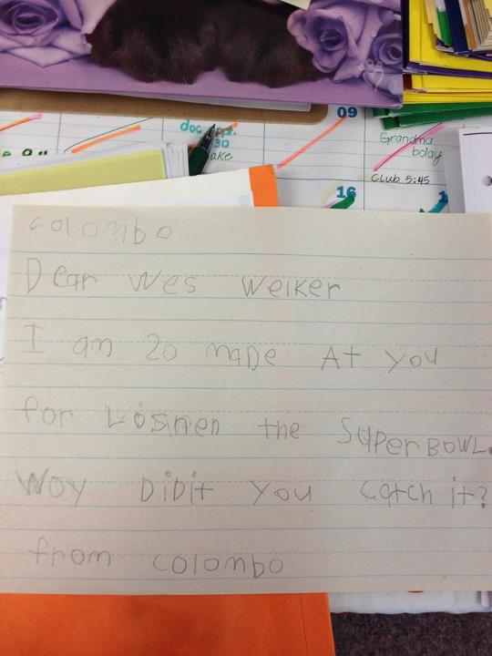 Wes Welker Scolded by Little Kid in Letter Asking About Super Bowl Drop (Photo)