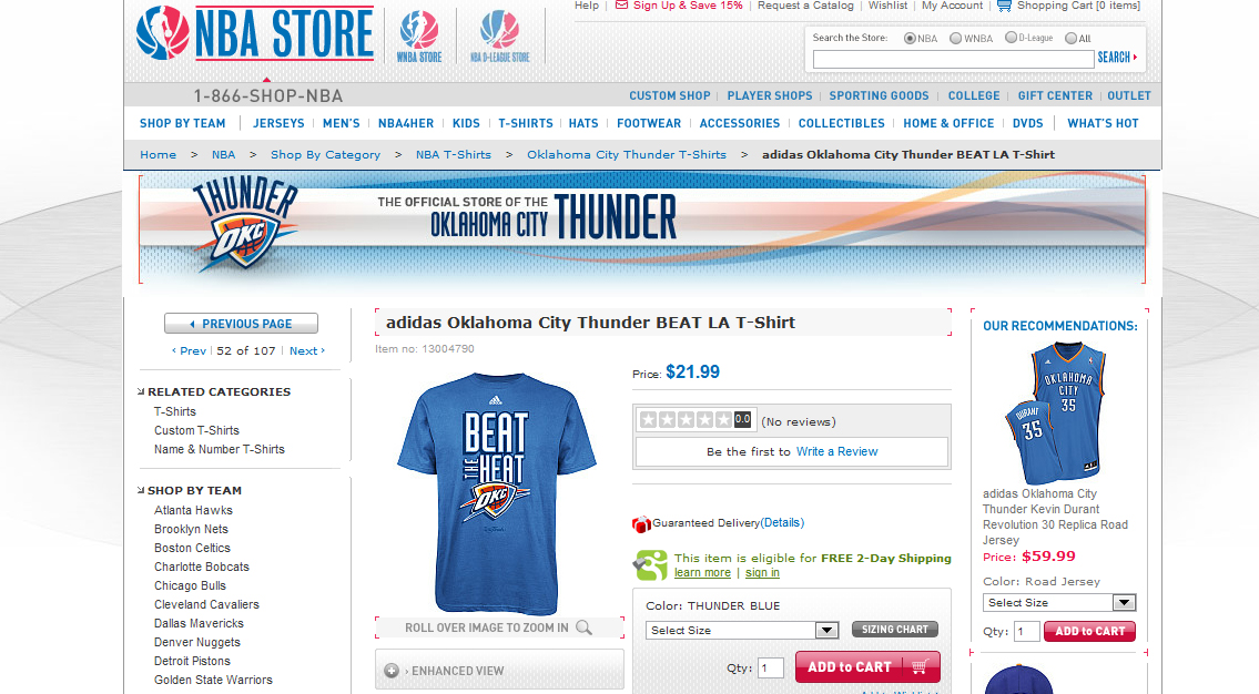 Oklahoma City Thunder Website Mistakenly Begins Selling 'Beat the Heat' T-Shirts (Photo)