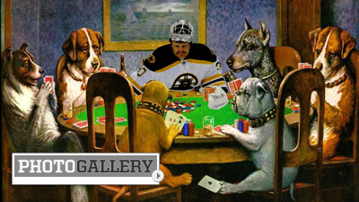 Photochop Winners: Tim Thomas Plays Poker With Dogs, Gets Tires Pumped While Bruins Visit White House (Photos)