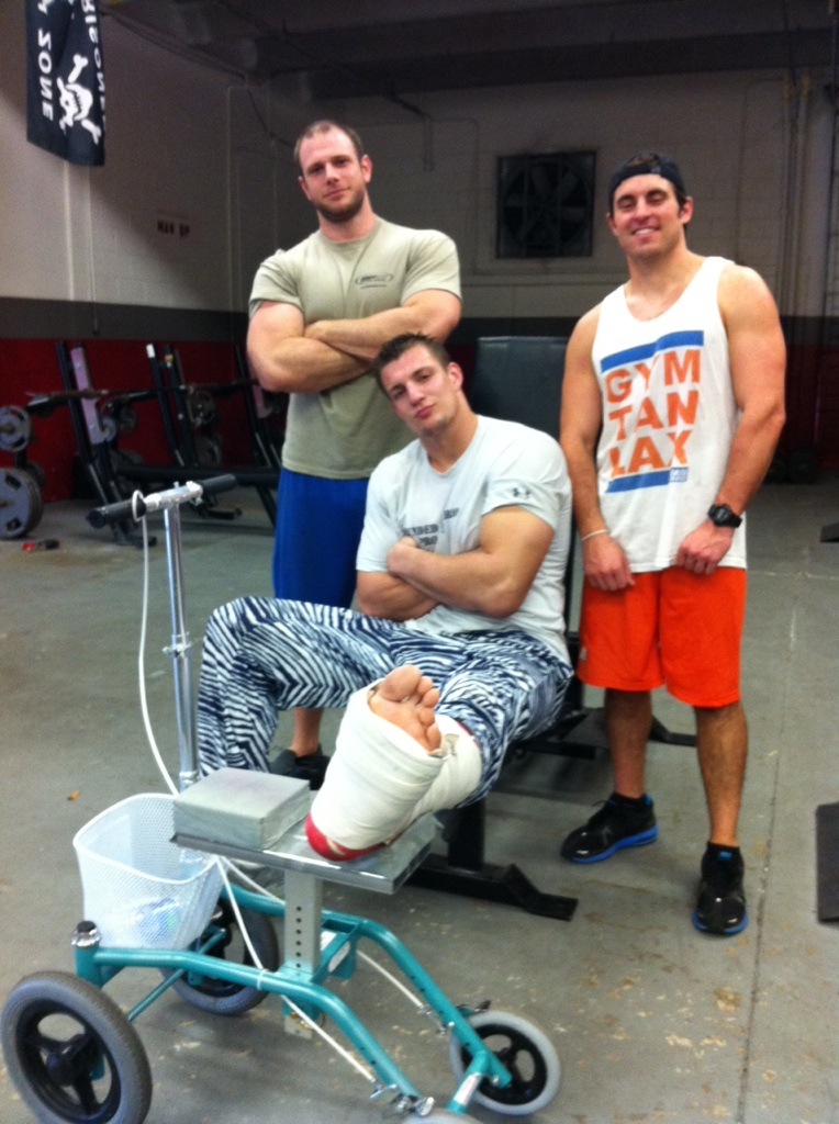 Rob Gronkowski Wears Zubaz Pants With Ankle Cast (Photo)