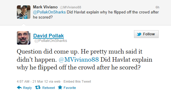 Martin Havlat Appears to Flip Off Kings Crowd During Goal Celebration (Video)