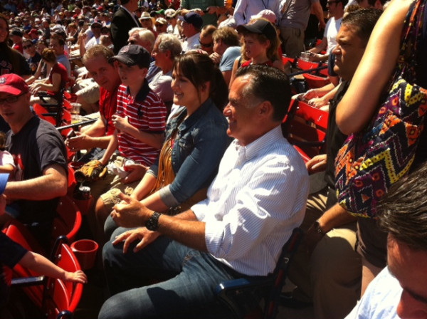 Mitt Romney Soaks Up Fenway Park Atmosphere During Red Sox-Rays Patriots' Day Clash (Photo)