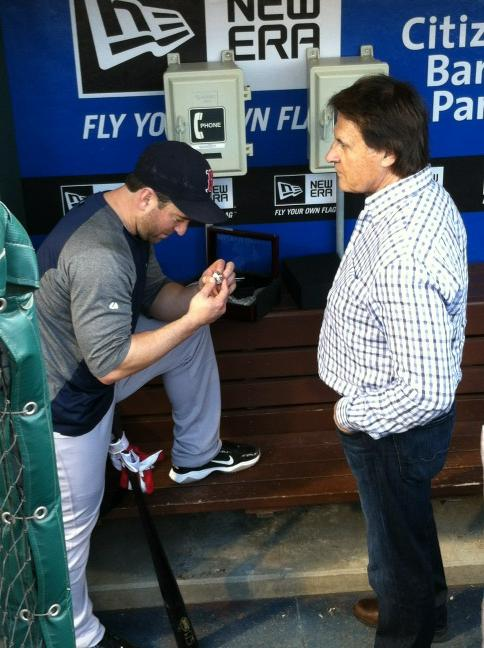 Nick Punto Receives 2011 World Series Ring From Tony LaRussa Before Game in Philadelphia (Photos)