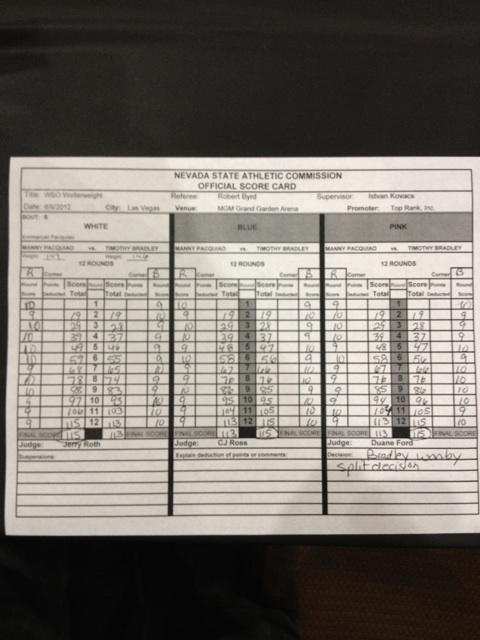 Manny Pacquiao, Timothy Bradley Scorecards Show Outcry Over Split Decision May Be Justified (Photos)