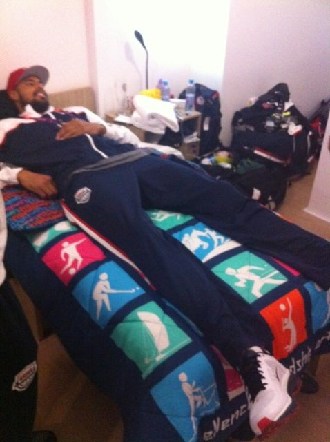 Tyson Chandler Tries to Cozy Up in Lolo Jones' Bed in the Olympic Village (Photo)