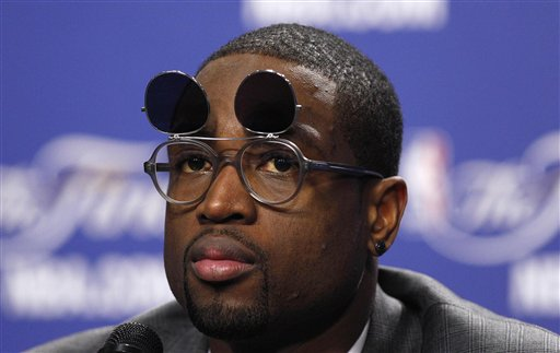 Dwyane Wade Wears Absurd Flip-Up Glasses to Game 4 Postgame News Conference (Photos)