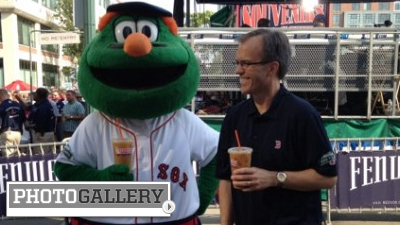 Jenny Dell, Tom Caron Show Off What They're 'Drinkin' During Dunkin' Donuts Shoot at Fenway Park (Photos)