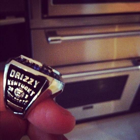 Drake Receives Kentucky Championship Ring, Complete With 'Drizzy' Inscription (Photo)