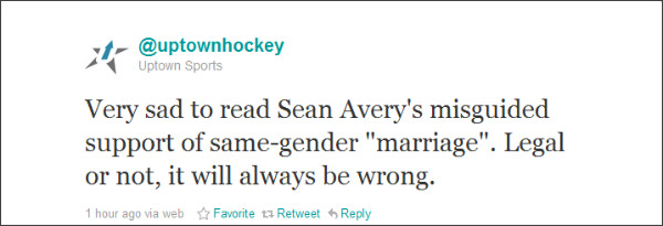 Uptown Sports Management Calls Sean Avery's Support of Same-Sex Marriage 'Misguided'
