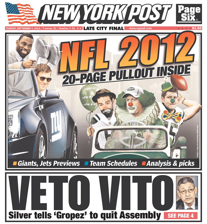 Rex Ryan, Mark Sanchez, Tim Tebow Arrive to 2012 Season in a Clown Car on New York Post Cover (Photo)