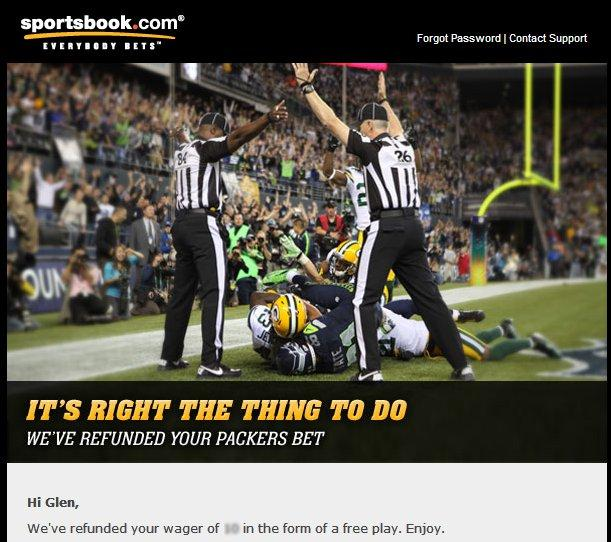 Sportsbook.com Refunding Gamblers Who Took Packers on Monday, Says 'It's the Right Thing to Do' (Photo)