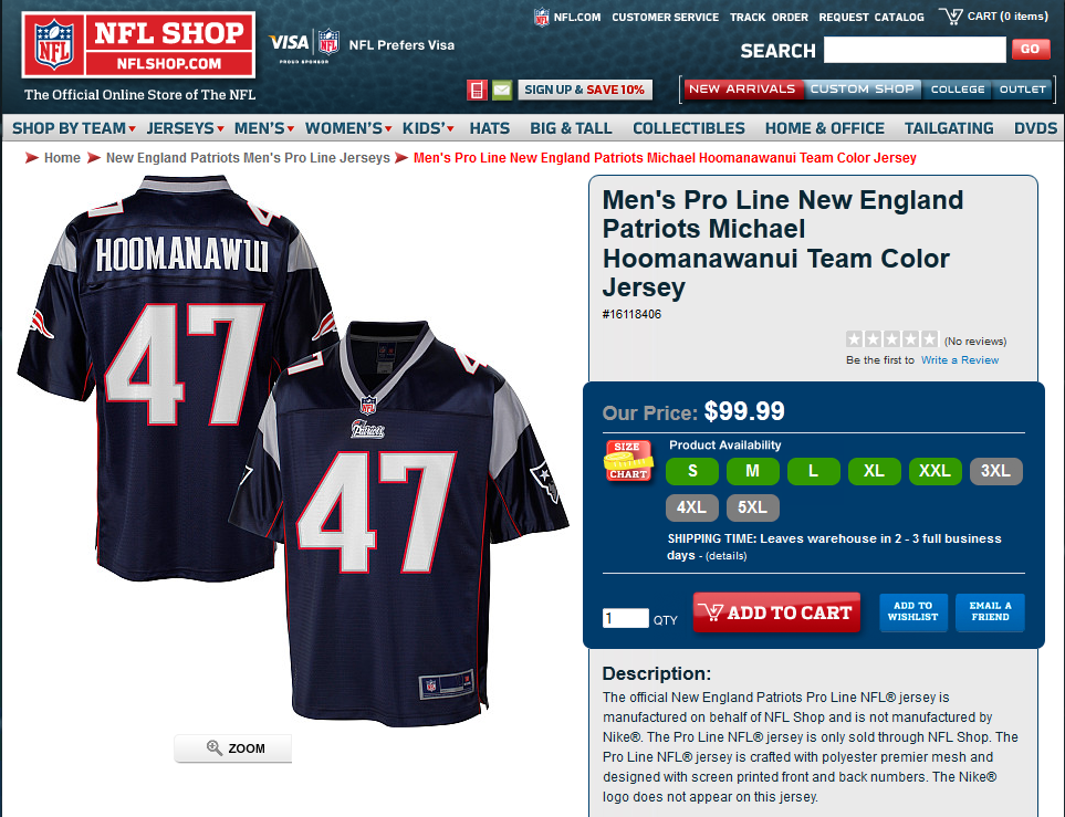 Michael Hoomanawanui's Name Is So Long That NFL Shop Struggles to Get It Right on Jerseys (Photo)